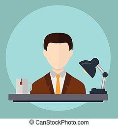 working., vecrtor, üzletember, hivatal, nehéz