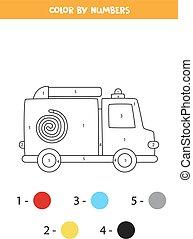 worksheet., szín, csereüzlet, karikatúra, elbocsát, szállítás, numbers.