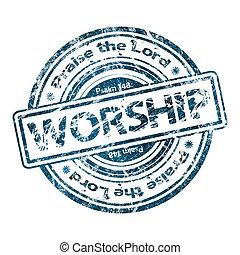 """worship"", grunge, bélyeg, gumi"