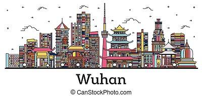 wuhan, áttekintés, kína, város, white., épület elpirul, láthatár, elszigetelt