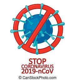 wuhan, coronavirus., china., vektor, fehér, országos járvány, kitörés, coronavirus, megáll cégtábla, ábra, vírus, 2019-ncov, regény, feszít, háttér., izolál