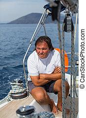 yacht., hím, figyelmetlen ember, vitorlázás, ülés