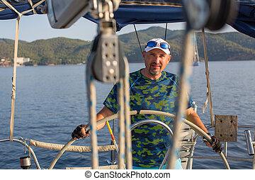yacht., irányít, vezérmű, vitorlázás, ember