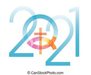 year., jelkép, új, jézus, fish