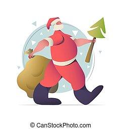 year., tervezés, új, kártya, szent, lakás, köszönés, karácsony, klaus, ábra