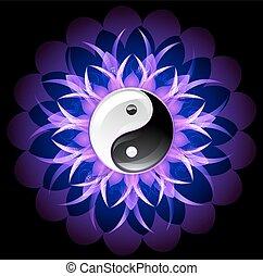 yin, lótusz, fényes, yang