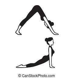 yoga színlel, kutya, fordulat, lefelé, emelkedő