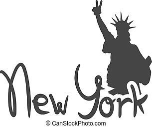 york, új, szabadság, jelkép