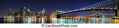 york, manhattan, panoráma, város, bridzs, új, brooklyn