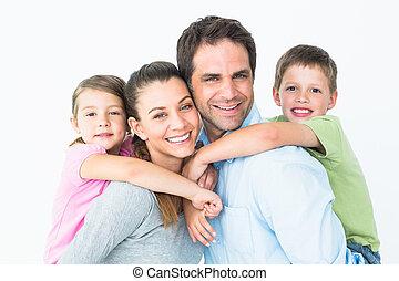 young külső, fényképezőgép, együtt, család, boldog