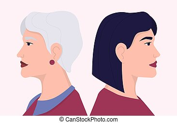 young személy, öregedő, arc, arcél, nő, öreg