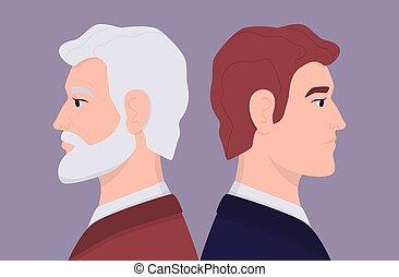 young személy, arc, ember, öregedő, arcél, öreg