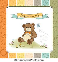 zápor, csinos, csecsemő, kártya, teddy-mackó