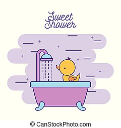 zápor, kellemes, fürdőkád, kacsa, lemos