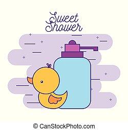 zápor, kellemes, gumi, palack, kacsa, szappan