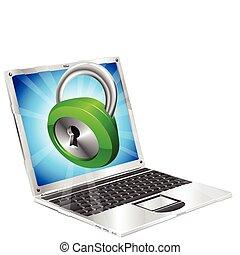 zár, laptop, fogalom, ikon