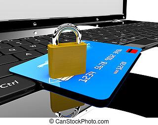 zár, laptop, kártya, hitel