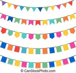 zászlódísz, színes, gyűjtés, jelzőzászló