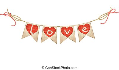 zászlódísz, szeret, szüret, vektor, white., piros, szó