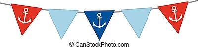 zászlódísz, vektor, háttér, tengeri, fehér, vasmacska