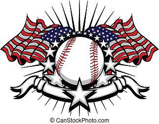 zászlók, baseball, csillaggal díszít