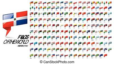 zászlók, countries., háttér, ábra, nemzeti, fehér, vektor