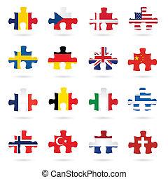zászlók, darabok, kirakós játék, világ