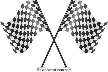 zászlók, jelkép, keresztbe tett, versenyzés, vektor