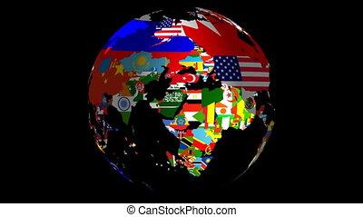 zászlók, tölt, középső, matt, beleértve, &, forgás földgolyó