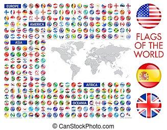 zászlók, világ, nemzeti, minden