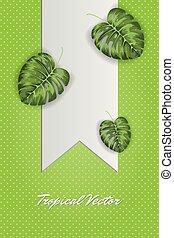 zöld, ábra, tropikus, vektor, zöld háttér