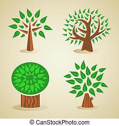 zöld, állhatatos, fa, színes