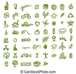 zöld, ökológia, tervezés, -e, ikonok