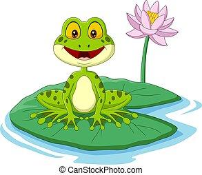 zöld, ülés, béka, levél növényen, karikatúra