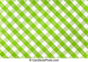 zöld abrosz, kockás, szerkezet