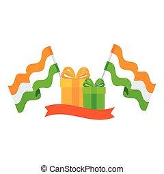 zöld, befest, háttér, dobozok, tehetség, indiai, fehér, zászlók, sárga