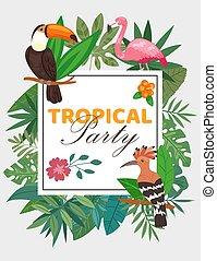 zöld, egzotikus, vektor, illustration., tropikus, hoopoe., meghívás, flamingó, detektívek, menstruáció, madarak, keret, tukán, pálma, poszter, fél, természet
