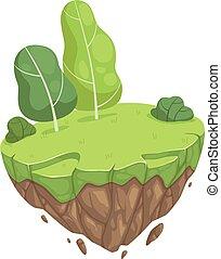zöld, elszigetelt, ábra, megkövez, elhelyezés, karikatúra, kert, fa., sáv, vektor, park., eredet, pihenés, isometric, sziget, kaszáló, nyár