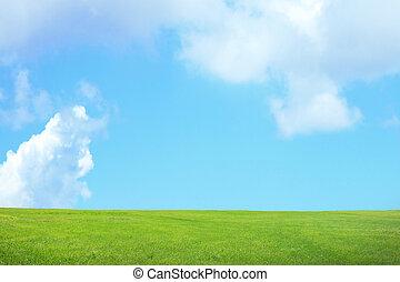 zöld fű, ég felhő