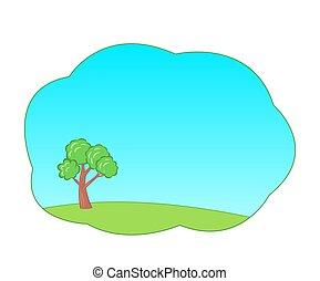 zöld fa, kék, karikatúra, háttér, sky., nyár