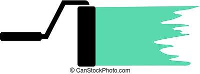 zöld, festmény, ecset, hajcsavaró