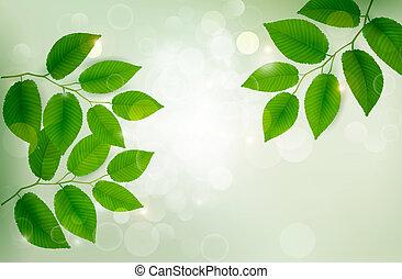 zöld, friss, háttér, vektor, zöld, illustration., természet