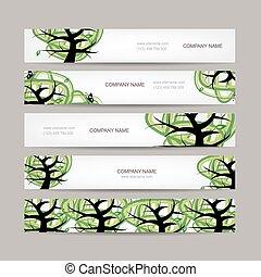 zöld, horizontális, állhatatos, fa, szalagcímek