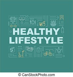 zöld, infographics, healthcare, typography., áttekintés, fogalom, egészséges, rgb, elszigetelt befest, szó, életmód, öntudatos, táplálás, ikonok, háttér., fitness., vektor, lineáris, banner., illustration.