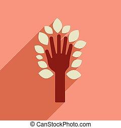 zöld, kéz, ikon, háló, hosszú, árnyék, lakás