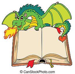 zöld, könyv, öreg, birtok, sárkány