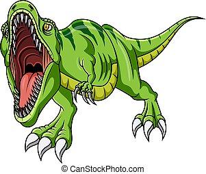 zöld, karikatúra, dörmögő, mérges, dinoszaurusz