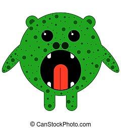 zöld, kerek, szörny