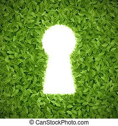 zöld kilépő, kulcslyuk