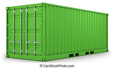 zöld, konténer, elszigetelt, rakomány